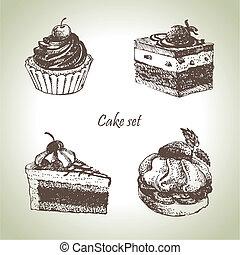 set, illustraties, cakes., hand, getrokken
