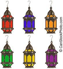 set, illustration., achtergrond., vrijstaand, ramadan, veelkleurig, realistisch, vector, lantaarns, lamp., witte , kareem, 3d