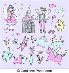set, illustration., alato, scarabocchiare, racconto, caratteri, vettore, unicorn., fata, castello