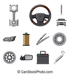 set, illustration., auto, illustratie, bitmap, deel, auto,...