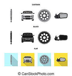 set, illustration., auto, teken., bitmap, deel, ontwerp,...