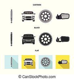 set, illustration., auto, teken., vector, ontwerp, auto...