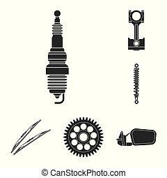 set, illustration., auto, voorwerp, vrijstaand, vector, auto...
