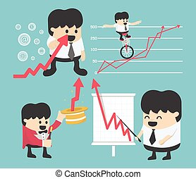 Set Illustration businessman concepts cartoon business stock exchange. Flat, vector,