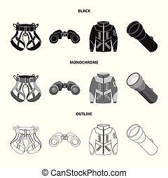 set, illustration., campeggiare, simbolo., illustrazione, alpinismo, vettore, picco, casato