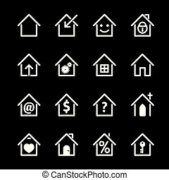 set, illustration., casa, vettore, bianco, icon.