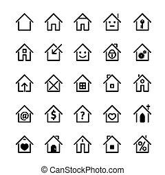 set, illustration., casa, vettore, nero, icon.