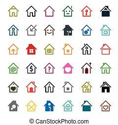 set, illustration., colorare, casa, vettore, icon.