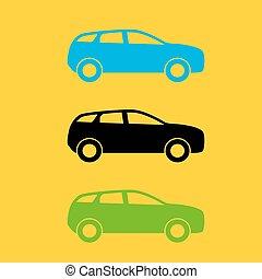 set, illustration., colorito, automobile, silhouette., vettore