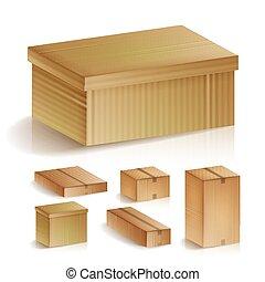 set, illustration., concept., opslag, aflevering, vrijstaand, realistisch, dozen, vector, karton, detailhandel, logistiek