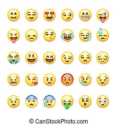 set, illustration., emoticons, isolato, fondo, vettore,...