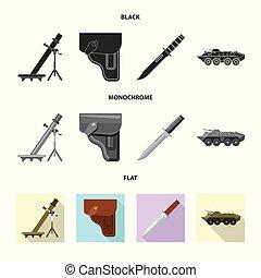 set, illustration., esercito, arma, fucile, vettore, disegno, icon., casato