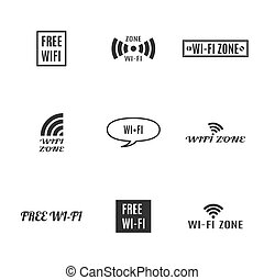 set, illustration., fili, icone, vettore
