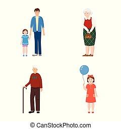 set, illustration., gezin, mensen, vector, ontwerp, avatar, logo., liggen