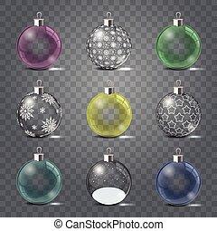 set, illustration., glas, vrijstaand, object., kerstmis, achtergrond., vector, mal, speelgoed, speelbal, glow., glanzend, transparant, zilver