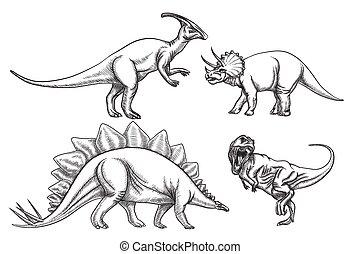 set., illustration, hand, dinosaurs, vektor, oavgjord