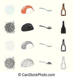 set, illustration., het koken, oogst, ecologisch, vector, illustratie, icon., liggen