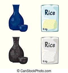 set, illustration., het koken, oogst, ecologisch, vector, ontwerp, icon., liggen