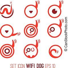 Set Illustration icon of wifi dog