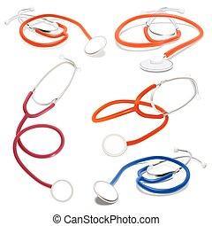 set, illustration., isolato, vettore, bianco, stethoscope.