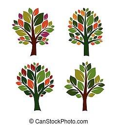 set, illustration., kleur, bomen, vector, icon.