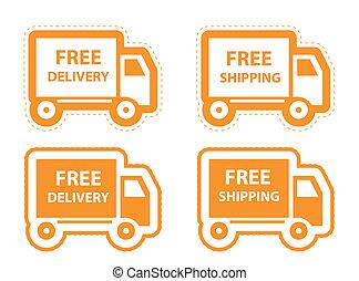 set., illustration, livraison, vecteur, gratuite, expédition, icône
