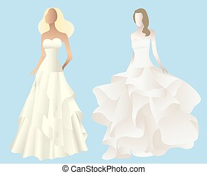 Set illustration of stylized silhouettes of a bride in her wedding dress