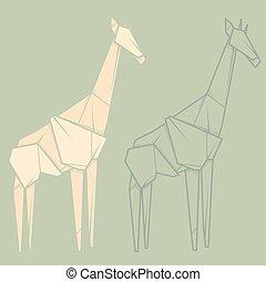 Set Illustration Paper Origami Of Giraffe