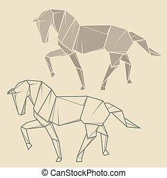 Set Illustration Paper Origami Of Horse