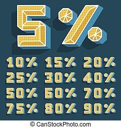 set, illustration., percent., prijs, moderne, verkoop, template., korting, aanbod, vector, getallen, bevordering, 3d, presentatie, teken., spandoek