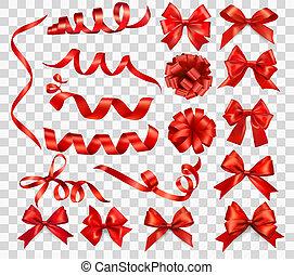 set, illustration., regalo, grande, archi, vettore, ribbons., rosso