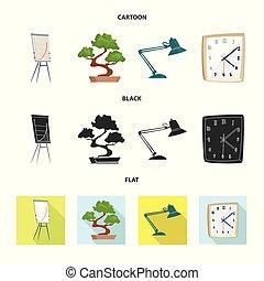 set, illustration., segno., lavoro, vettore, disegno, casa, mobilia, casato