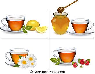 set, illustration., sfondi, vettore, tea., campanelle