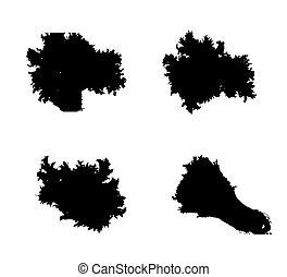 set, illustration., slaatje, vrijstaand, achtergrond., vector, witte