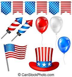 set., illustration, symboler, amerikan, fjärde, fosterländsk, juli, dag, oberoende
