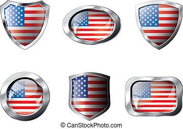 set, illustration., usa, metaal, frame, voorwerp, -, vrijstaand, tegen, schilden, knopen, achtergrond., vlag, vector, witte , amerika, glanzend, abstract