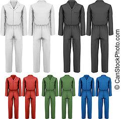 set, illustration., vector, ontwerp, worker., overalls,...