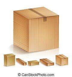 set, illustration., vrijstaand, realistisch, dozen, vector, perspective., karton, zijaanzicht