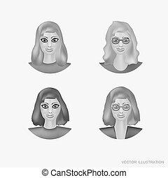 set, illustration., women., faccia, immagine, avatars, illustrazione, cartone animato, emozione, vettore, nero, colors., avatars., bianco, woman.
