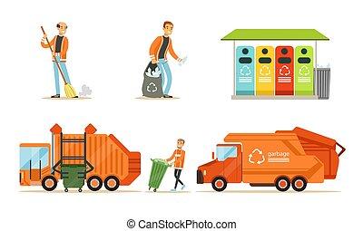 set, illustrations., arancia, immondizia, vettore, man., camion