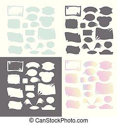 Set illustrations doodle sketch speech bubble, vector