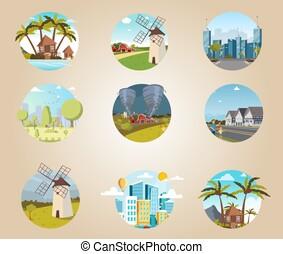 Set illustrations icons urban and rural landscapes. Banner...
