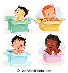 Set illustrations of babies  different races sitting in boxes