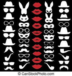 Set Illustrations of hats, glasses, masks, lips and moustaches. Vector