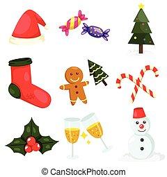 set, illustrator, kerstmis, een