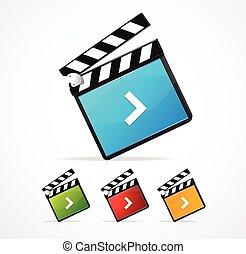 set, illustratore, media, giocatore, vettore, icona