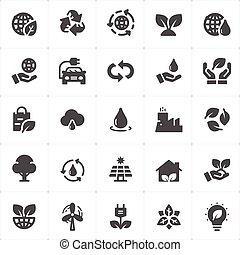 set, -, illustrazione, ambiente, vettore, icona