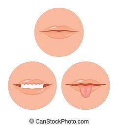 set, illustrazione, dente, vettore, bocca, lingua umana