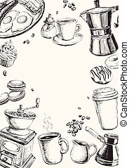set, illustrazione, mano, vettore, disegnato, colazione