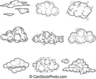 set., illustrazione, mano, vettore, disegnato, nuvola